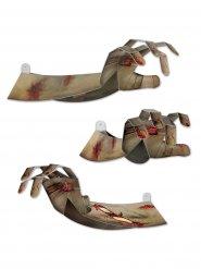 Decoración mano de zombie gris en 3D Halloween