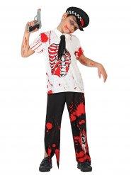 Disfraz policía zombie ensangrentado niño Halloween