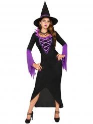 Traje de bruja mágica violeta y negra