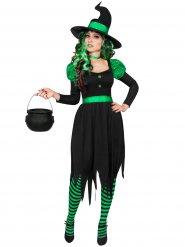 Disfraz de bruja verde y negra mujer Halloween