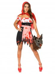 Disfraz de caperucita roja zombie manchas de sangre