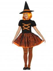 Disfraz bruja naranja y negro Halloween