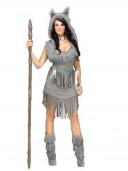 Disfraz india gris mujer