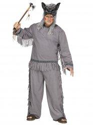 Disfraz cazador de lobos indio gris talla grande
