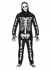 Disfraz esqueleto pixelado Halloween adulto