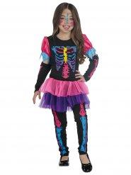 Disfraz esqueleto colorido fluo Halloween niña