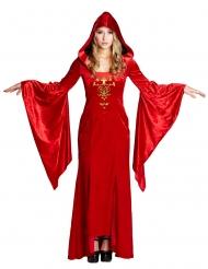 Disfraz de vestido medieval color rojo mujer