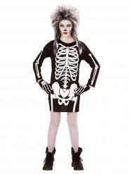Disfraz de esqueleto negro y blanco niña Halloween