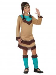 Disfraz Squaw del Lejano Oeste beige y azul niña