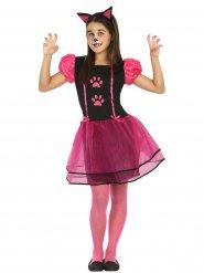 Disfraz de gato para niña negro y rosa