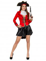 Disfraz de pirata mujer negro y rojo