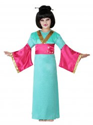 Disfraz geisha para niña verde y rosa