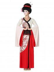 Disfraz de geisha rojo y blanco mujer