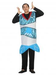 Este disfraz de pescado azul es para adulto