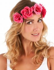 Corona flores rosas mujer