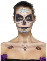 Kit maquillaje flores azules mujer Día de los muertos