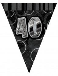 Guirnalda banderines grises edad 40 años 274 cm