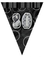 Guirnalda banderines gris 80 años 2.74 m