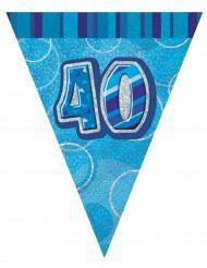 Guirnalda banderines azul edad 40 años 274 cm