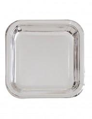 8 Platos cuadrados de cartón metalizados plata 23 cm