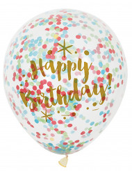 6 Globos Happy Birthday confetis multicolores