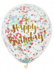 6 Globos Happy Birthday confetis multicolores