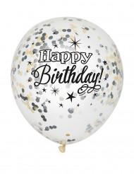 6 Globos confetis Happy Birthday látex plateado y dorado
