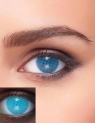 Lentillas fantasía UV a cuadros azul adulto