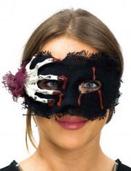 Antifaz de tela con mano esqueleto mujer Halloween