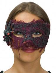 Antifaz tela violeta con araña mujer Halloween