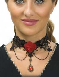 Collar corto encaje negro y rosa roja mujer Día de los muertos