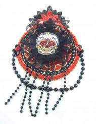 Mini sombrero rojo y negro Día de los muertos mujer