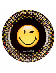 8 Platos de cartón Smiley Emoticons™ 23 cm