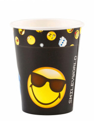 8 Vasos de cartón Smiley Emoticons™ 250 ml