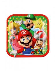 8 Platos pequeños de cartón Super Mario™ 18 cm