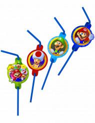 8 Pajitas de plástico Super Mario