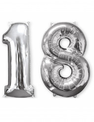 Lote de 2 globos de aluminio número 18 plateado