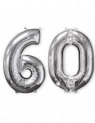 Lote 2 globos aluminio 66 cm plateado número 60