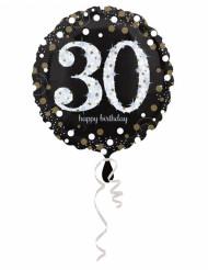 Globo de aluminio Happy Birthday brillante 30años-45cm