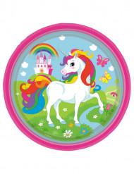 8 Platos de cartón unicornio arcoíris 23 cm
