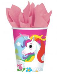 8 Vasos de cartón unicornio arcoíris 250 ml