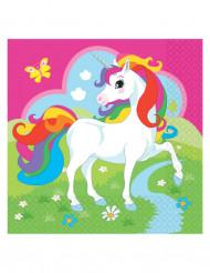 20 Servilletas de papel unicornio 33x33 cm