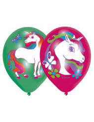 6 Globos de látex unicornio 2 colores