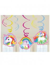 6 Decoraciones colgantes espiral Unicornio