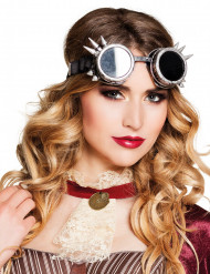 Gafas cyberpunk plateadas para adulto Steampunk