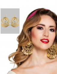 Pendientes dorados de bailarina oriental Mujer