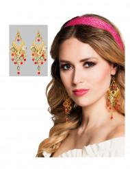 Pendientes de bailarina oriental dorados y rojos mujer