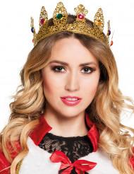 Corona de reina con gemas falsas adulto