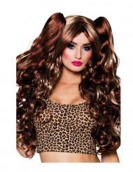 Peluca marrón con coletas ajustables mujer