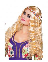 Peluca ondulada rubia con diadema Hippie mujer